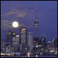 full moon over Auckland city